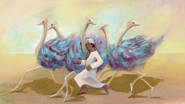 Le garçon et les autruches - illustration 1
