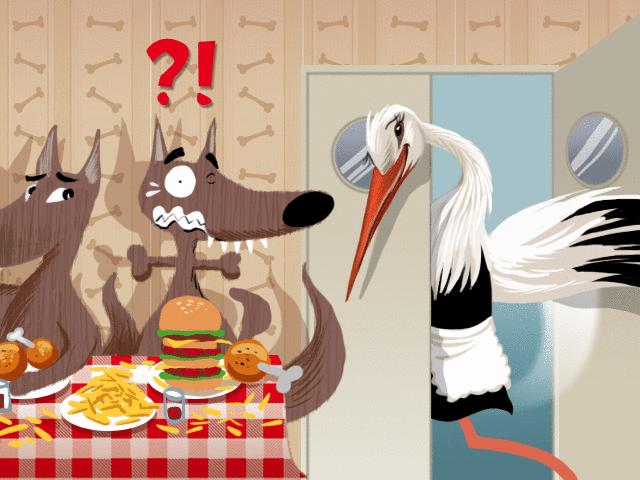 Le Loup et la Cigogne - illustration 1